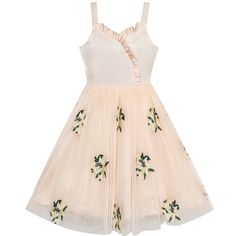 7ef722ea2e8 Flower Girl Dress Lily Flower Embroidered Wedding Party Size 6-12 Years