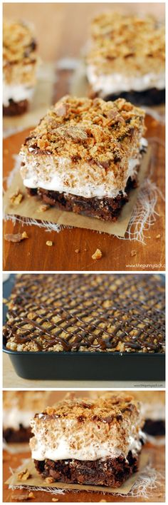 Butterfinger Ooey Gooey Bars with brownie crust, Butterfinger Rice Krispies Treats on top and marshmallow cream sandwiched between!
