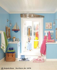 Sea driftwood sign placed above door. Pottery Barn Kids.  Browse Driftwood Decor on Completely Coastal: http://www.completely-coastal.com/search/label/Driftwood%20Decor