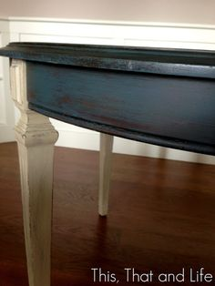 Annie Sloan Aubusson Blue and Graphite Table detail with watermark