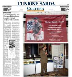 """L'Unione Sarda, 25 aprile 2008. Alberto Monteverde. """"Roma. Al Vittoriano Uomini e Armi dell'Esercito Italiano. Una storia lunga 147 anni""""."""