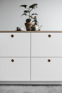 spray-painted MDF cabinet fronts have circular cutout pulls backed by natural or smoked oak wood. The doors, by Danish company Reform, are meant to be attached to Ikea cabinet boxes. Ikea hack: the Basis kitchen from Reform made with Ikea cabinets and Reform's fronts and counters | Remodelista