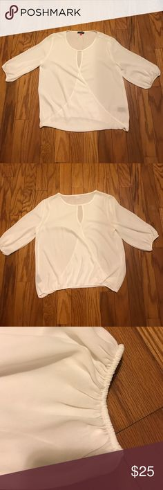 Vince Camuto Blouse Classic and crisp Vince Camuto Blouse with gathered cuffs. 100% polyester. Vince Camuto Tops Blouses