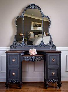 1940 s Vanity General Finishes 2018 Design Challenge Antique Bedroom Furniture, Refurbished Furniture, Furniture Makeover, Vintage Furniture, Painted Furniture, Painted Makeup Vanity, Antique Makeup Vanities, Bathroom Vanities, Old Vanity