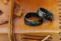Partner- & Eheringe - Verlobungsringe Mokume Garne Silber mit Bronze - ein Designerstück von Silberschweif bei DaWanda