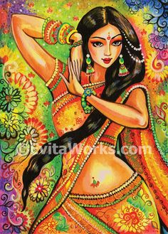 feminine beauty bollywood dance Indian decor beautiful Indian woman painting belly dance affordable art gifts, poster woman wall, 5x7+