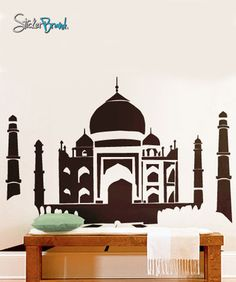 Vinyl Wall Art Decal Sticker Taj Mahal Silhouette India #158 | Stickerbrand wall art decals, wall graphics and wall murals.