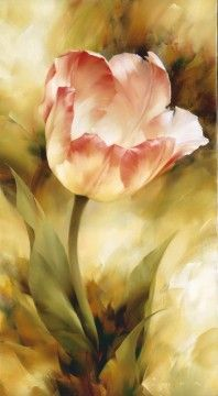 "artist Igor Levashov, (Moscow) ""Single Tulip,"" 1999, 100х50, oil / canvas - Highly trained artist!"