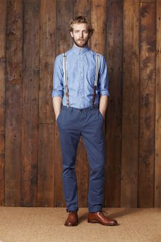 denim and suspenders ....pants here don't apply