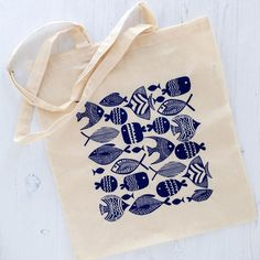 Cotton Tote Bag with Quirky Handmade Fish Illustration in Navy Blue, Long Handles, Eco Friendly Fabric Shopping Bag Tote Bag 'Collection of Fishes' Screen Print of Block image 0 Diy Accessoires, Tampons, Fabric Painting, Rock Painting, Linocut Prints, Cotton Tote Bags, Printing On Fabric, Block Print Fabric, Hand Printed Fabric