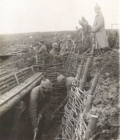 WW1, German soldiers constructing trenches.