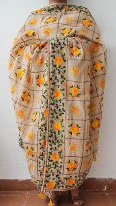 Chanderi Gota Check Beige and Yellow Hand Embroidered Phulkari Dupatta Phulkari Embroidery, Hand Embroidery, Embroidery Designs, Punjabi Suits Phulkari, Dress Indian Style, Indian Wear, Indian Fashion, Women's Fashion, Ladies Tops