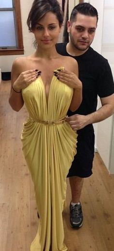 SEXY prom evening dress, long yellow gowns, fashion couture