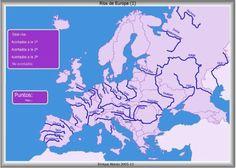 Los Mapas Interactivos de Ríos de Europa de Enrique Alonso sirven para nombrar, localizar y situar de forma gráfica los principales ríos europeos y evaluando el conocimiento demostrado.