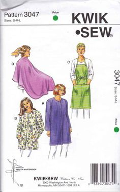 """Kwik Sew Sewing Pattern 3047 Unisex Sizes S-L (Chest 34 -44"""") Smocks Aprons Barber Haircut Cape"""