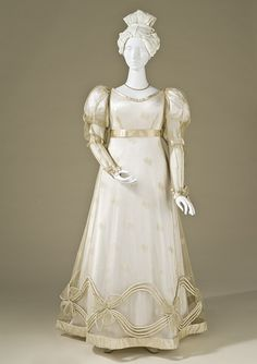 Woman's Dress, 1825 Silk net with silk embroidery and silk satin trim.