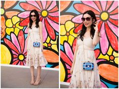 Rebecca Taylor Dress, Steve Madden Sandals, Gucci Sunglasses, Moschino Crossbody