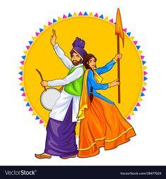 illustration of Sikh Punjabi Sardar couple playing dhol and dancing bhangra on holiday like Lohri or VaisakhiSardar Indian Artwork, Indian Art Paintings, Mandala Drawing, Mandala Art, Disney Drawings, Art Drawings, Save Earth Drawing, Funny Cartoons For Kids, Punjabi Culture