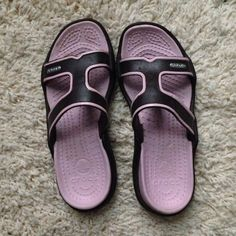 crocs Shoes - Pink and brown Crocs sandals