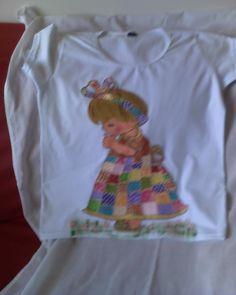 Babylook com boneca vestido quadrinhos.
