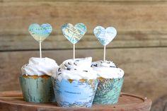 Vintage Map Heart Cupcake Toppers por thePathLessTraveled en Etsy