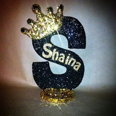 Prince theme or Princess theme 10 sparkling letters or numbers Baby Boy and Baby Girl royalty themed Glitter crown centerpieces Royal themed centerpiece baby shower baby sprinkle centerpieces