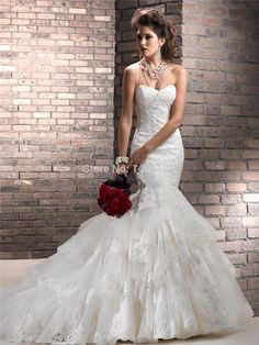 Mermaid Floor length Wedding Dresses 2015 New Court Train Tulle Fold Backless Pearls Beads Homecoming pleats long Back up lace