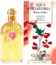 Guerlain: Aqua Allegoria Winter Delice.  This is a very heavy winter scent.  Though unisex, it's quite masculine.  It smells wonderful, but it's a bit of a novelty scent for me...it smells like Christmas! Top note is fir; middle notes are pine and resin; base notes are opoponax, vanille and sugar.