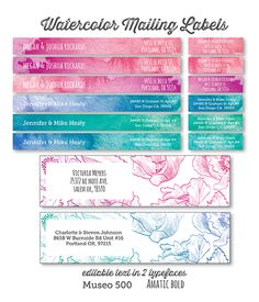 Free mailing label printables | Love the long ones, which wrap around envelopes so your name is on the back right but your return address is on the front in the usual spot.