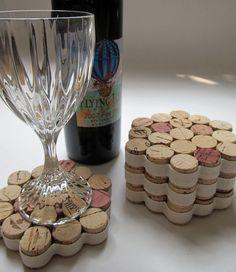 Honeycomb Wine Cork Coasters With Cream Ribbon-Set of Four. $18.00, via Etsy.