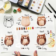 Owl Watercolor Painting Tutorial ~ No automatic alt text available. Watercolor Beginner, Watercolor Paintings For Beginners, Step By Step Watercolor, Watercolour Tutorials, Watercolor Techniques, Beginner Painting, Painting Tutorials, Painting Tips, Painting Lessons