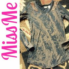 Cute Miss Me top Size large but runs really small I think it would fit more a small or medium black and brown print tee shirt material with beaded accent on shoulders and thermal material on the long sleeves Miss Me Tops Tees - Long Sleeve