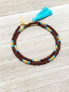 Beaded Wrap Bracelet, Friendship Bracelet, Tassel Bracelet, Layering Wrap Bracelet, Gold Charm Bracelet, Boho Jewelry, Best Friend Gift