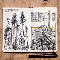 Sketch Book My heart goes out to all of those affected by the wildfires in the Pacific Northwest right now. Sketch was from last weekend camping in the Olympics as the smoke rolled in. Sketchbook Drawings, Ink Drawings, Drawing Sketches, Moleskine Sketchbook, Travel Sketchbook, Fashion Sketchbook, Sketch Art, Kunstjournal Inspiration, Sketchbook Inspiration