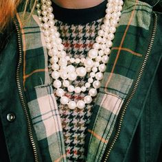 pearls + plaid + houndstooth