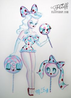 Candy Dots Lollipop Pin Up Doll - Original painting by Miss Fluff / Claudette Barjoud http://cgi.ebay.com/ws/eBayISAPI.dll?ViewItem&item=17128295515