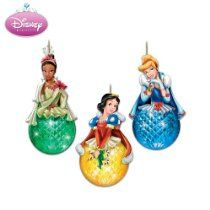 Disney Princess Sparkling Dreams Christmas Ornament Set by The Bradford Exchange