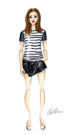 Rachel Zoe Resort '14 / classic stripe and red lip / illustration by Kara Endres