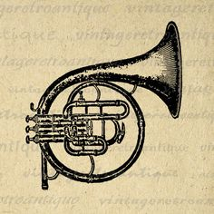 Printable Digital French Horn Graphic Music Instrument Image