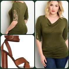Olive Green Plus Top This gorgeous top features quarter crochet detailed sleeves. Scoop neckline and ruched hem. Soft stretch knit material. 97% Rayon, 3% Spandex. ❌Price is firm unless bundled or is placed on sale. Shoes are for styling only❌This closet does not trade or use PayPal) Libian Tops