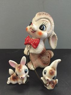 Vintage Bunny Rabbit Mama w Babies on Chains JAPAN EXCELLENT Condition