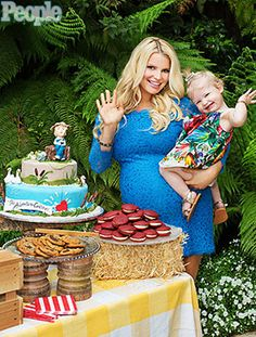 Jessica Simpson's Tom Sawyer-Themed Baby Shower I I like the hay belles and barrels for table props