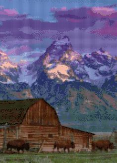Wyoming Bison landscape Cross Stitch pattern PDF - Instant Download! by PenumbraCharts on Etsy