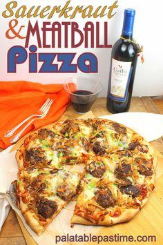 Sauerkraut and Meatball Pizza #SundaySupper #GalloFamily