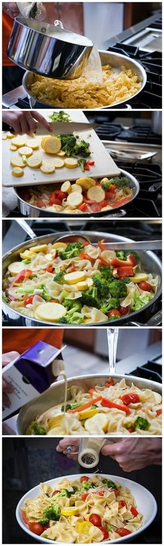 Pasta Primavera Recipe | This recipe uses fresh vegetables | easiest recipe I ever made...1 lb pasta, 32oz chicken broth, 16oz frozen veggies, olive oil and lemon...cook until absorbed