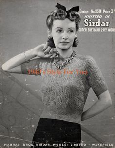 Free Knitting Pattern - 1940s Jumper - Sirdar 930 - 1940s Style For You