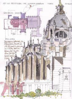 Almudena Kathedrale, Apsis, Madrid, ES   3/2015   By Jochen Schittkowski #urban #sketch