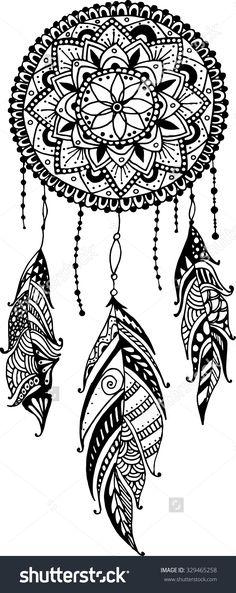 Mandala Dreamcatcher Feathers Tribal 329465258 : Shutterstock