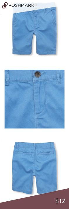 Boys Solid Woven Shorts Color Blue Riviera A ready-to-dress-up (or down!) short for all occasions. Made of 100% cotton twill; peached for a fuzzy feel Button closure with zipper fly Slant pockets at sides; back welt pockets Inner adjustable waist tabs for a custom fit Pre-washed for an extra-gentle feel and to reduce shrinkage The Children's Place Bottoms Shorts