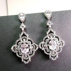 Bridal earrings, Crystal wedding earrings, Bridal chandelier earrings, Statement earrings, Vintage style earrings on Etsy, $65.00